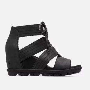 Sorel Black Joanie II Lace Wedge Sandals 9 NWT